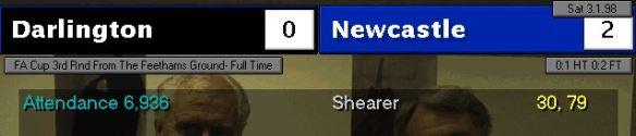 darlo 0 - 2 newcastle