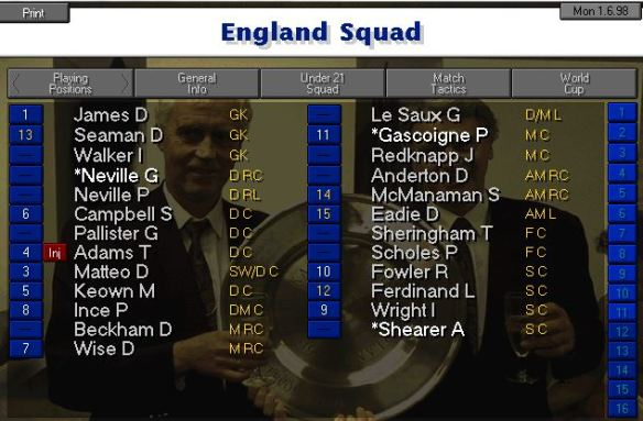 England WC 98 Squad