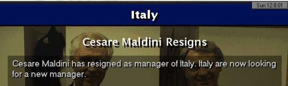 maldini quits italy