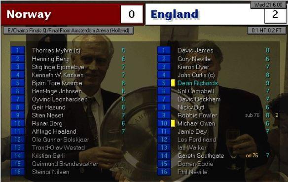 norway 0 - 2 england