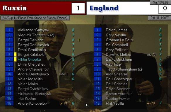 russia 1 - 0 england