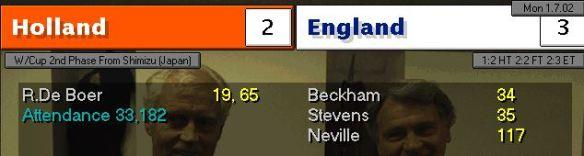 holland 2 - 3 england