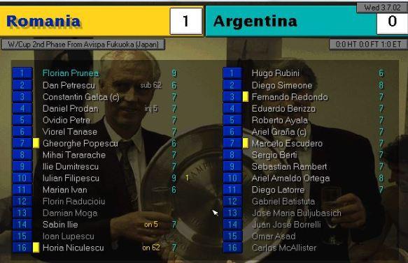 romania 1 - 0 argentina
