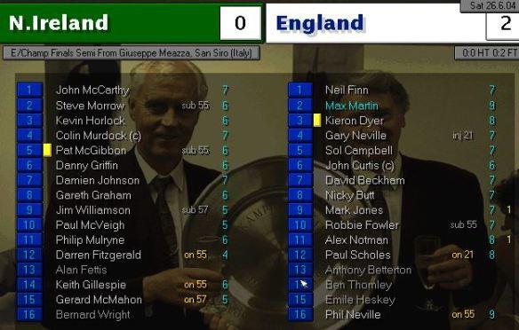 NI 0 - 2 england