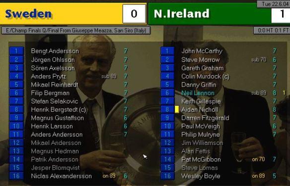sweden 0 - 1 n ireland