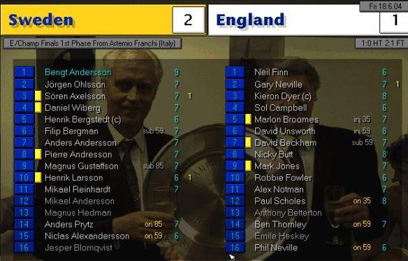 sweden 2 - 1 england