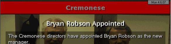 bryan robson to cremonese