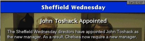 toshack to sheff wed