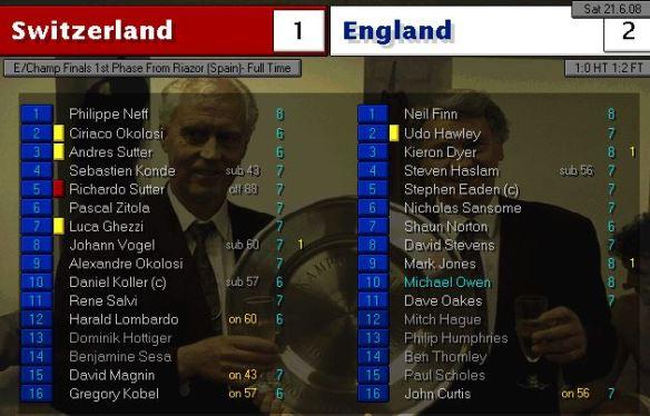 swiss 1 - 2 england