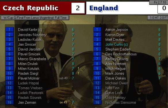 czech 2 - 0 england
