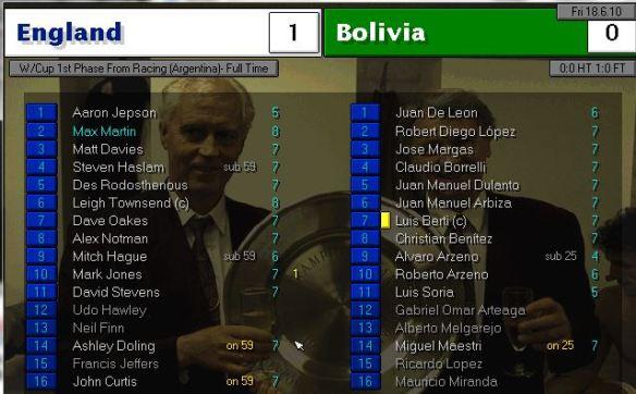 england 1 - 0 bolivia