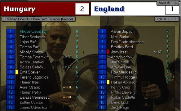 hungary 2 - 1 england
