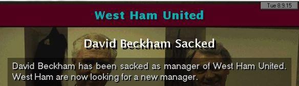 west ham sack beckham