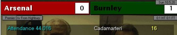 arsenal 0 - 1 burnley