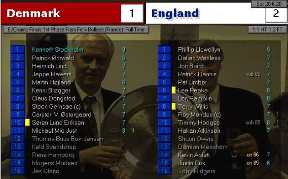 denmark 1 - 2 england