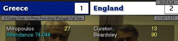 greece 1 - 2 england