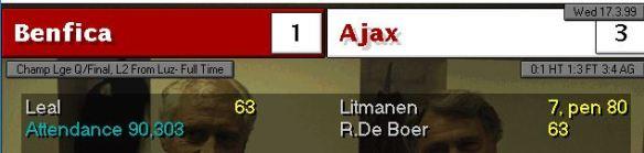 benfica 1 - 3 ajax