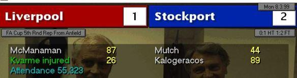 Liverpool 1 - 2 stockport