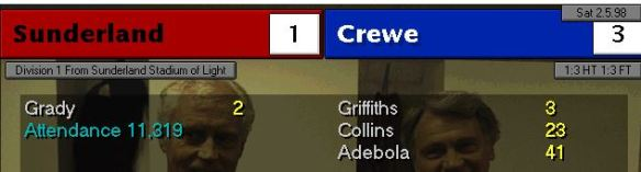 mackems 1 - 3 crewe
