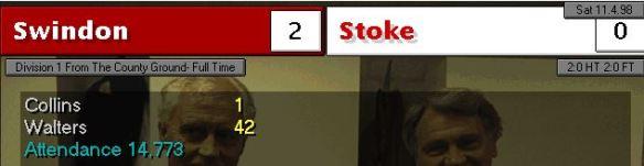 Swindon 2 - 0 stoke
