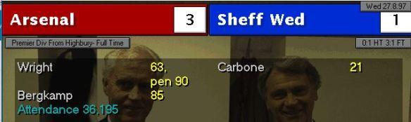 arsenal 3 - 1 sheff wed