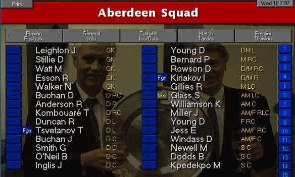 Aberdeen starting squad