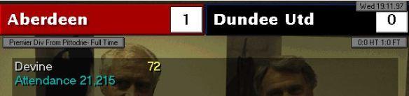 Dundee Utd first defeat