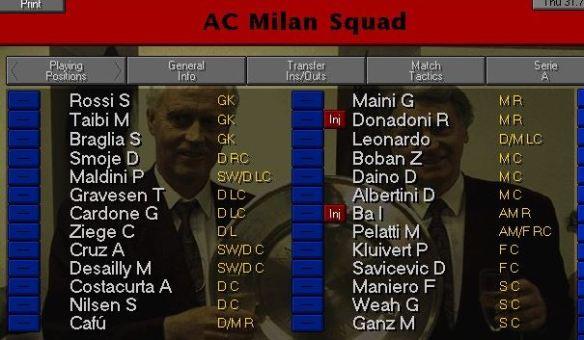 Milan squad
