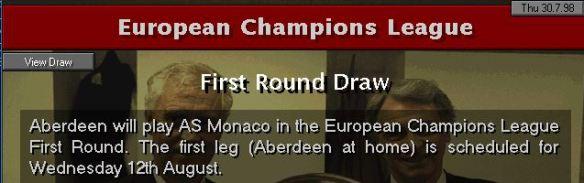 Aberdeen draw Monaco