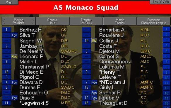 Monaco squad
