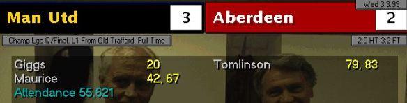 mufc 3 - 2 aberdeen