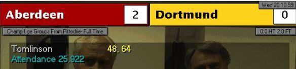 aberdeen 2 - 0 dortmund