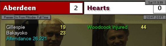 aberdeen 2 - 0 hearts
