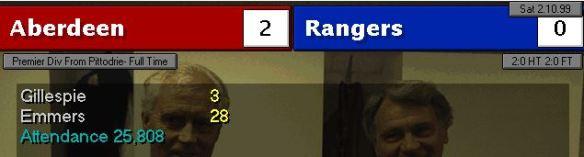 aberdeen 2 - 0 rangers