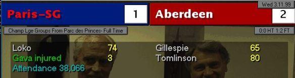 PSG 1 - 2 Aberdeen