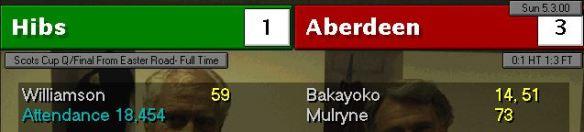 hibs 1 - 3 aberdeen Cup QF
