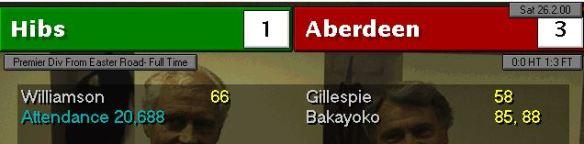 hibs 1 - 3 aberdeen