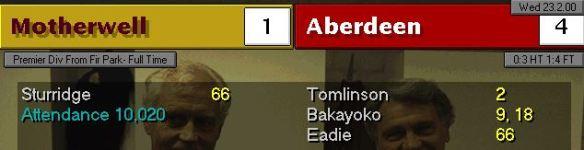 Motherwell 1 - 4 Aberdeen