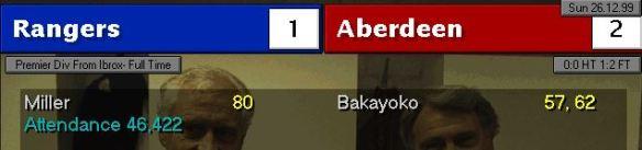 Rangers 1 - 2 Aberdeen