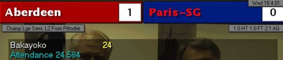 Aberdeen 1 - 0 PSG