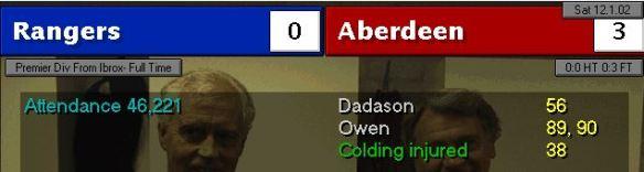 rangers 0 - 3 aberdeen