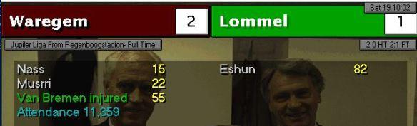 waregem 2 - 1 lommel musrri debut