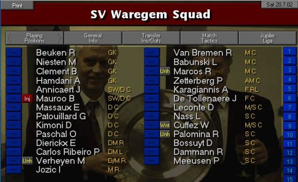 Waregem squad