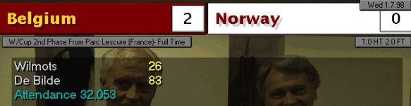 belgium norway scoreboard