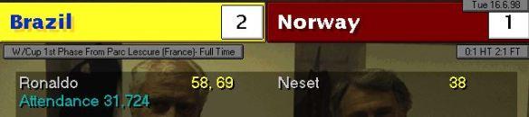 brazil 2 - 1 norway scoreboard