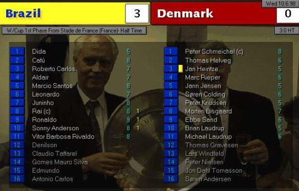 brazil vs denmark half time ratings