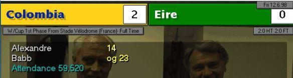 Colombia Ireland scoreboard