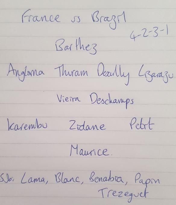 France teamsheet