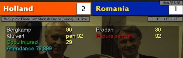 holland romania scoreboard
