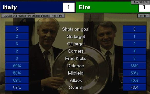 italy eire HT stats